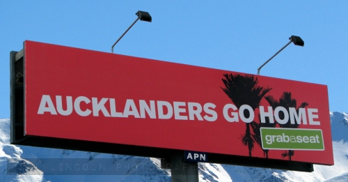 billboard in Christchurch for domestic flight deals