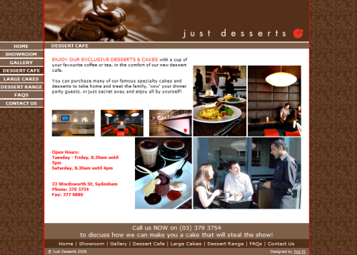Just Desserts Website - 500