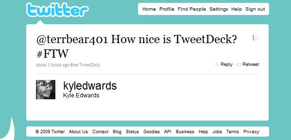 How nice is Tweetdeck ftw